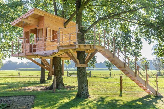 Casa de madeira para crianças entre as árvores.