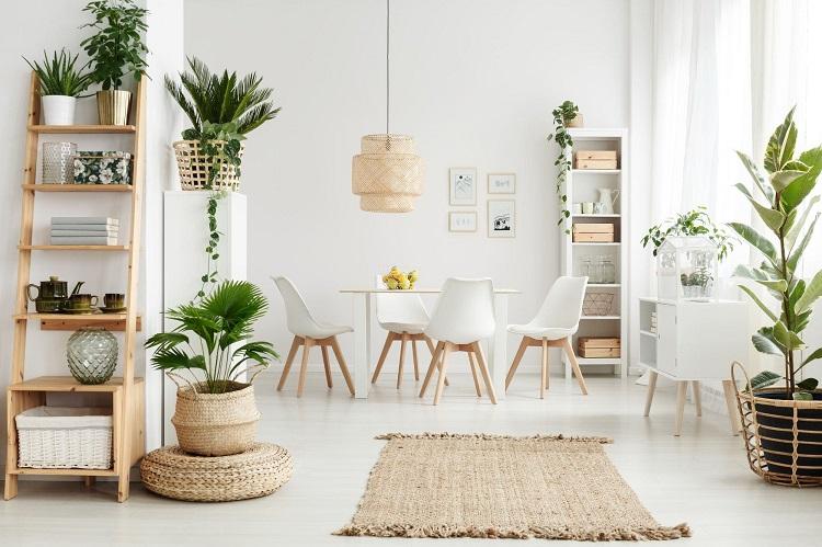 Complemente a decoração de madeira crua com plantas.