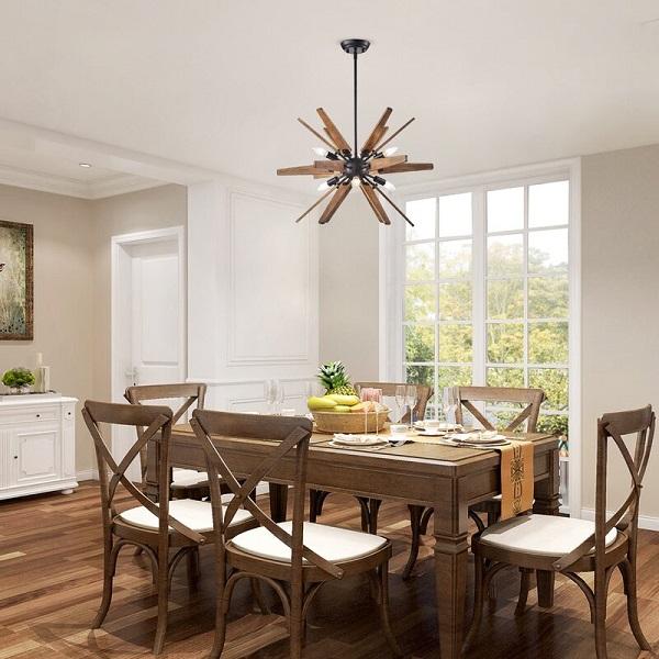 Lustre de madeira em modelo sputnik para sala de jantar.