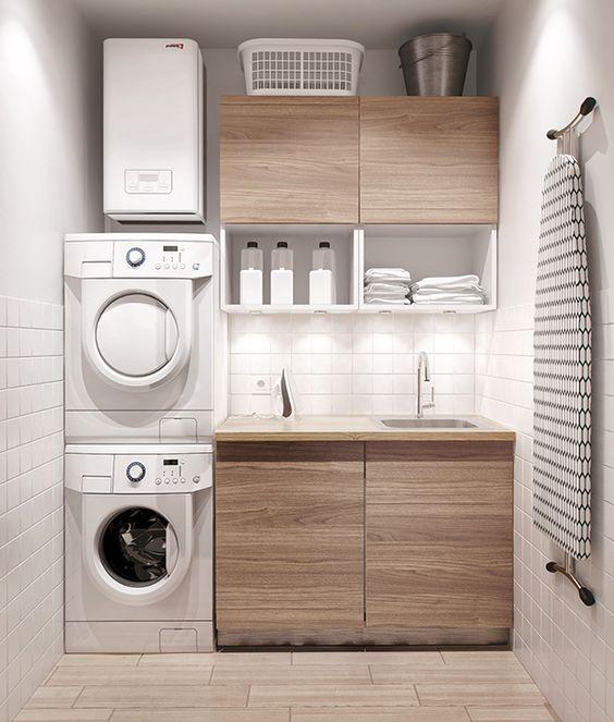 Armário de madeira minimalista e compacto para lavanderias.