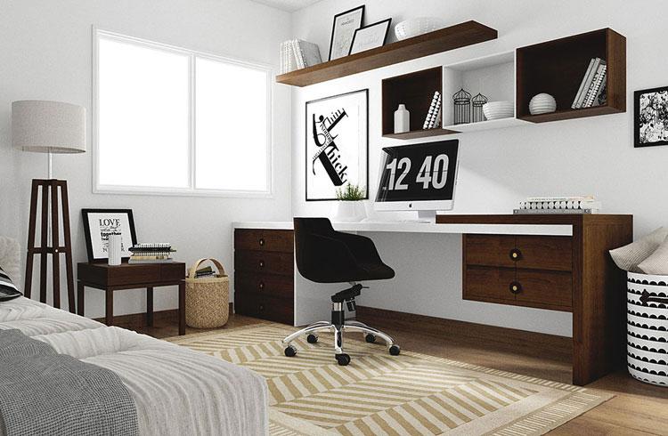 Mesa, cadeira e prateleiras elegantes num escritório no quarto.