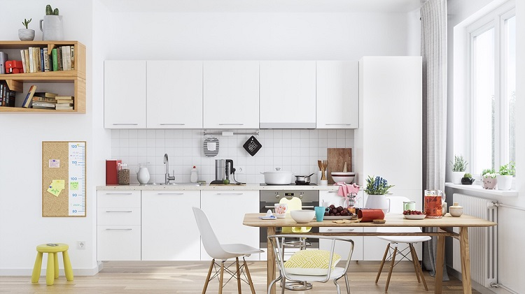 Cozinha minimalista com toque de madeira, amarelo e vermelho.