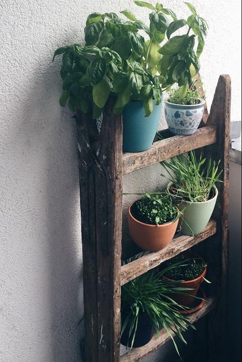 Floreira de madeira tipo escada.