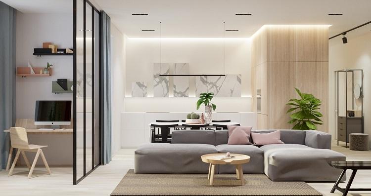 Sala com decoração minimalista.