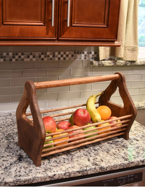 Fruteira de madeira para mesa.