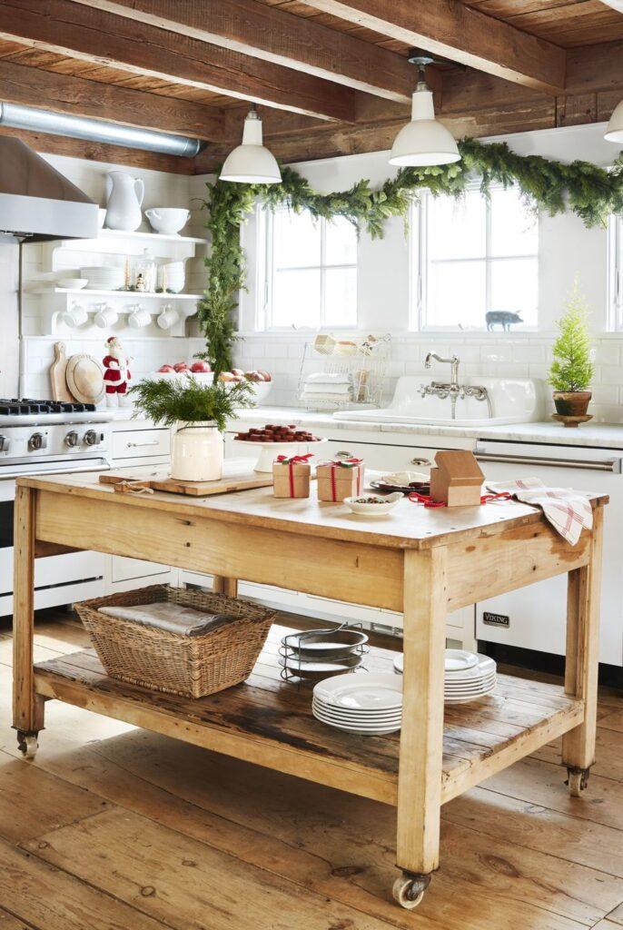 Ilha de cozinha com rodas.